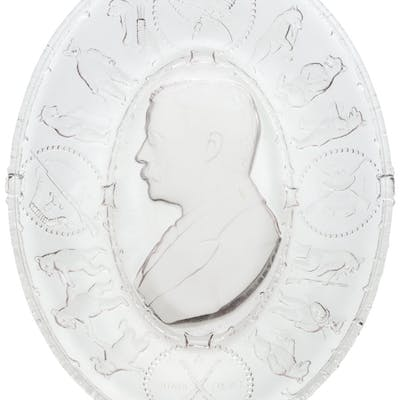 Theodore Roosevelt: EAPG Frosted Glass Campaign Plate.  ...