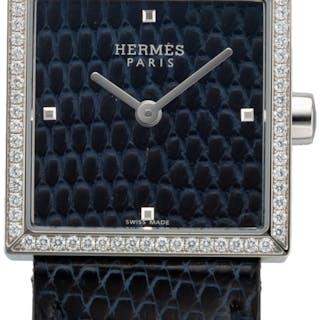 Hermès 24mm Blue Abyss Lizard Diamond Carre Cuir Watch C, 2018 Condition: