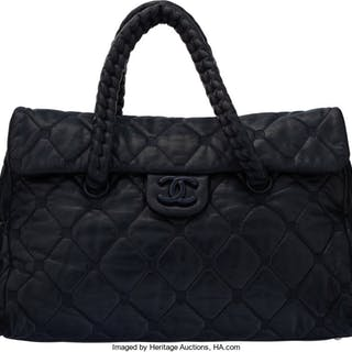 Chanel Blue Aged Quilted Lambskin Leather Shoulder Bag Condition: