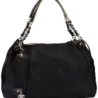 """Chanel Black Calfskin Leather Large Shoulder Bag Condition: 2 17"""""""