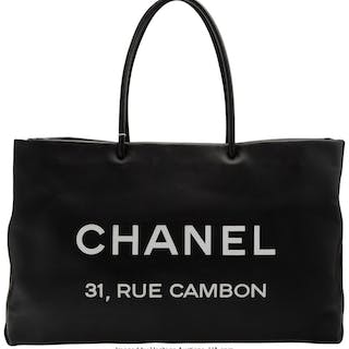 Chanel Black Calfskin Leather Rue Cambon Large Shopping Tote Bag Condition: