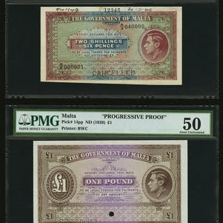 Malta Government of Malta 2 Shillings 6 Pence; 1 Pound ND (1939) Pick