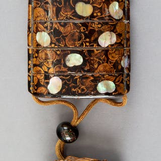 A Japanese Maki-e Lacquered Wood and Mother-of-Pearl Inlay Inro With
