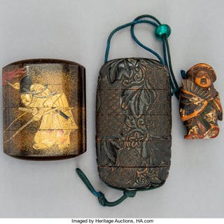 Two Japanese Lacquered Inro with Figural Netsuke 3-3/8 x 1-7/8 x 3/4