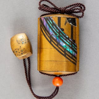 A Japanese Maki-e Wood Inro with Mother-of-Pearl Inlay and Inro-Form