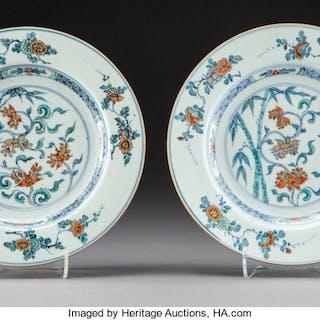 A Pair of Chinese Doucai Porcelain Plates, Qing Dynasty, Yongzheng