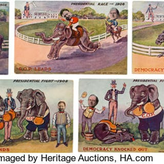 William Howard Taft and William Jennings Bryan: Set of Cartoon Postcards. ...