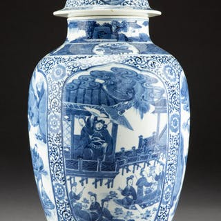 A Chinese Blue and White Porcelain Covered Jar, Qing Dynasty, Kangxi