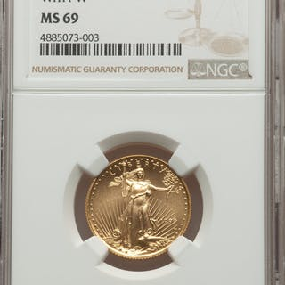1999-W $10 Quarter-Ounce Gold Eagle, Unfinished Proof Dies, MS