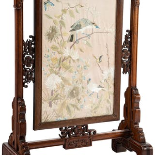 A Chinese Carved Hardwood Screen with Embroidered Silk Panel, Qing