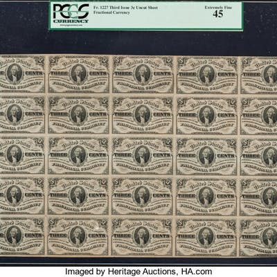 Fr. 1227 3¢ Third Issue Full Sheet of 25 PCGS Extremely Fine 45. ...