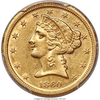1860-D $5 Medium D