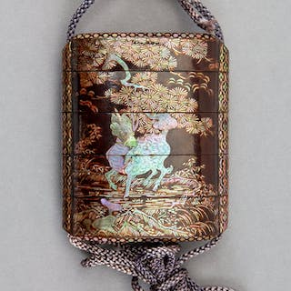 A Japanese Mother-of-Pearl Inlay and Wood Inro 2-7/8 x 2-3/8 x 7/8
