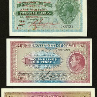 Malta Government of Malta Lot of Four Examples Extremely Fine-About