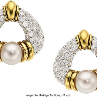 Diamond, Cultured Pearl, Platinum, Gold Earrings, Jacques Timey for