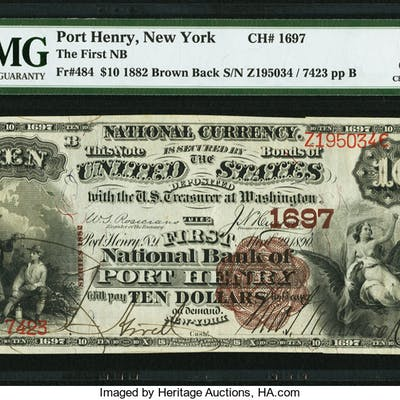Port Henry, NY - $10 1882 Brown Back Fr. 484 The First NB Ch. # 1697