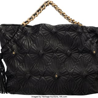 Chanel Black Starburst Quilted Lambskin Leather Tote Bag Condition: