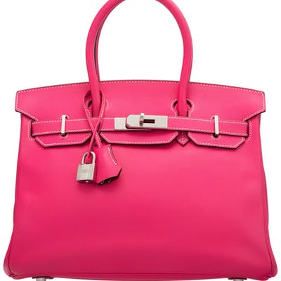 Hermès Limited Edition 30cm Rose Tyrien & Tosca Epsom Leather Candy