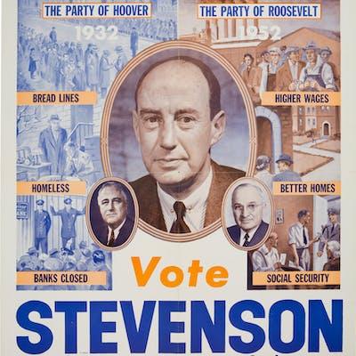 Adlai Stevenson: Outstanding 1952 Labor Committee Poster.  ...
