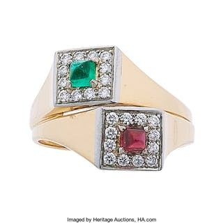 Diamond, Ruby, Emerald, Platinum, Gold Ring ...