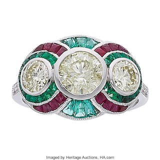 Colored Diamond, Diamond, Ruby, Emerald, Platinum Ring ...