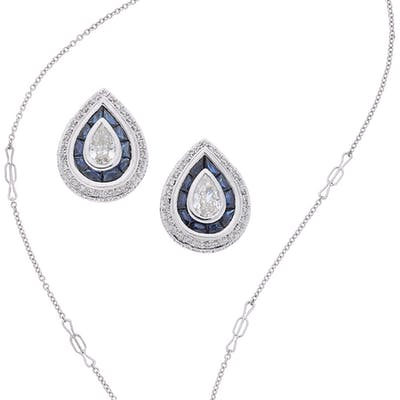 Diamond, Sapphire, White Gold Jewelry Suite ... (Total: 2 Items)