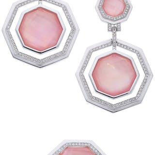 Diamond, Rose Quartz, Mother-of-Pearl, White Gold Jewelry Suite ...
