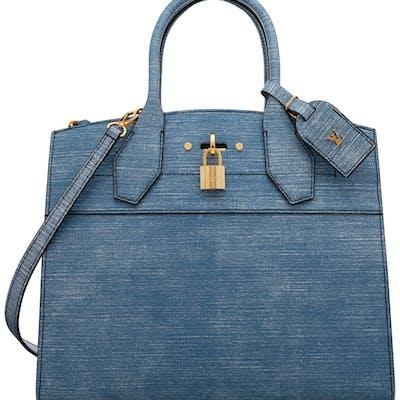 """Louis Vuitton Denim Epi Leather City Steamer MM Bag Condition: 1 11"""""""