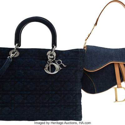 Christian Dior Set of Two: Denim Saddle Bag & Lady Dior Tote Bag Condition: