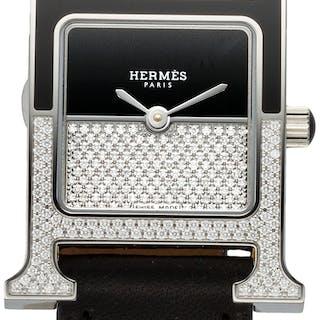 Hermès 21mm Black Diamond Heure H Double Jeu Watch C, 2018 Condition: