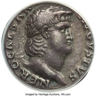 Nero (AD 54-68). AR denarius (17mm, 5h). ANACS EF 45....