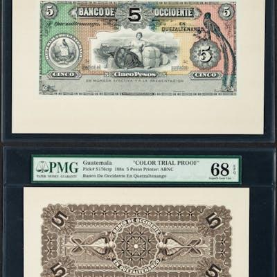 Guatemala Banco de Occidente 5 Pesos ND (18xx) Picks S176fp & S176bp
