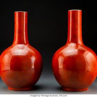 A Pair of Chinese Faux-Bois Porcelain Bottle Vases, Republic Period