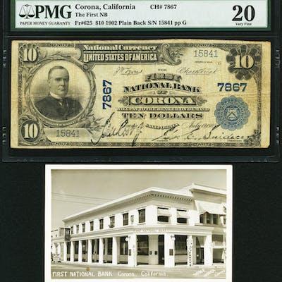 Corona, CA - $10 1902 Plain Back Fr. 625 The First NB Ch. # 7867 PMG
