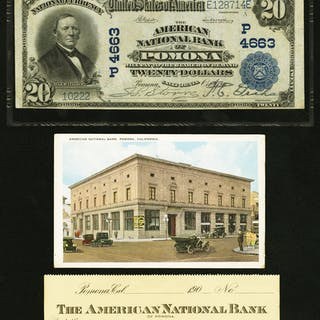 Pomona, CA - $20 1902 Plain Back Fr. 654 The American NB Ch. # (P)4663