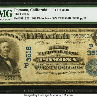 The First NB of Pomona, California Bonanza - One Note Plus Nine Paper