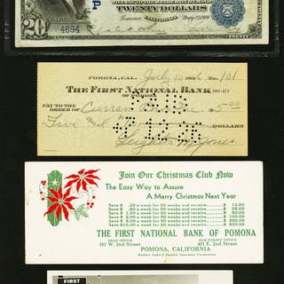 Treasurer Trove of The First NB of Pomona, California - One Note Plus