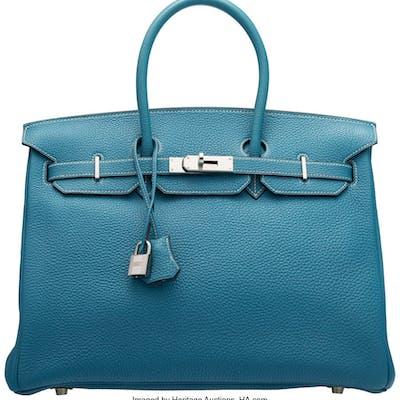 Hermès 35cm Blue Jean Togo Leather Birkin Bag with Palladium Hardware