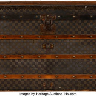 Louis Vuitton Damier Ebene Coated Canvas Steamer Trunk Condition: