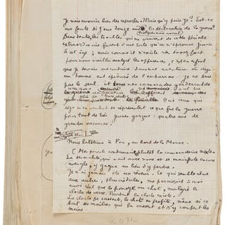 Raymond Radiguet. Le diable au corps. Typed Manuscript with Holograph