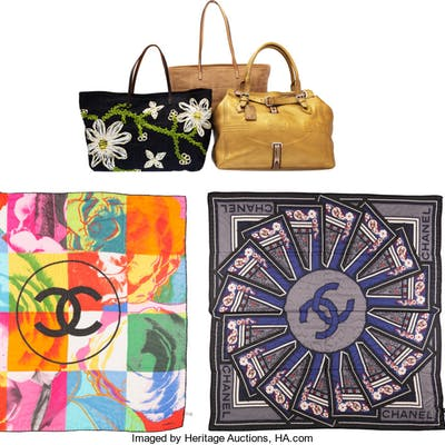 Set of Six: Fendi Tote Bags, Pin & Chanel Scarves Condition: 2 See