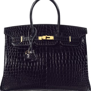 Hermès 35cm Shiny Black Porosus Crocodile Birkin Bag with Gold Hardware