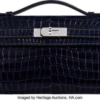 Hermès Shiny Blue Marine Porosus Crocodile Kelly Cut Clutch with Palladium