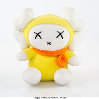 KAWS X Mad Hectic Miffy Doll, 2001 Polyester plush 7-1/2 x 7-1/2 x