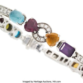Multi-Stone, Diamond, White Gold Bracelet, Bvlgari  ...