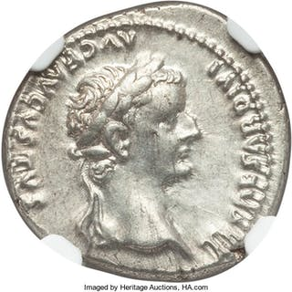Tiberius (AD 14-37). AR denarius (18mm, 3.81 gm, 7h). NGC AU 5/5 - 4/5....