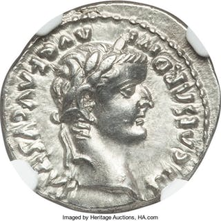 Tiberius (AD 14-37). AR denarius (19mm, 3.65 gm, 8h). NGC Choice AU
