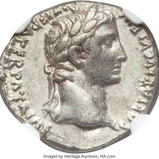 Augustus (27 BC-AD 14). AR denarius (18mm, 3.88 gm, 6h). NGC AU 4/5 - 4/5....