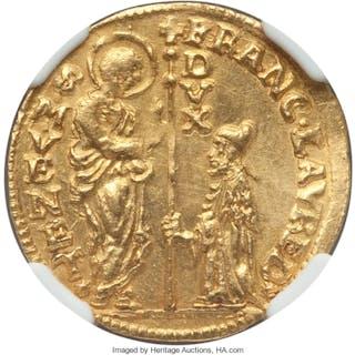 Venice. Francesco Loredan gold Zecchino ND (1752-1762) MS63 NGC,...