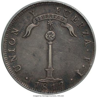 "Republic ""Volcano"" Peso 1817 SANTIAGO-FJ XF45 PCGS,..."